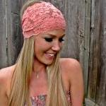 Wide Stretch Lace Headband in Coral..