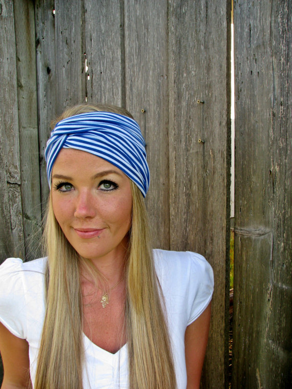 Nautical Blue White Vintage Turban Stretch Jersey Knit Headband Hair Band  Accessory Woman Girl Workout Wrap 9b52221e488